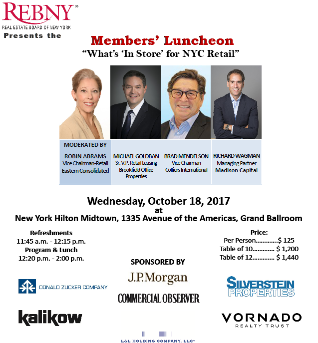 "REBNY Memebrs' Luncheon: What's ""In Store"" for NYC Real Estate"