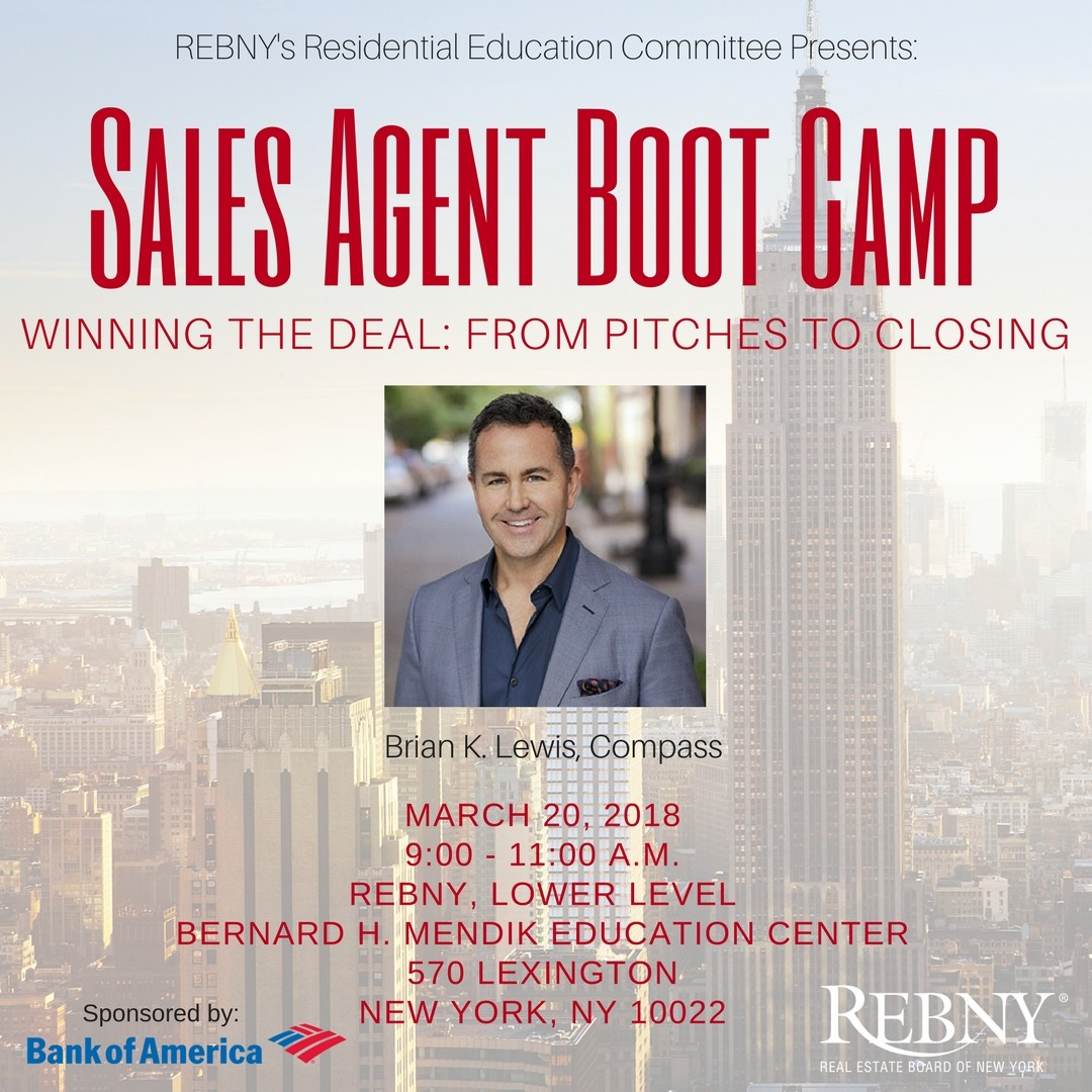 New York City Residential Real Estate Brokers and Agents learn how to establish trust, set and manage expectations, establish loyalty, and build winning systems with Brian K. Lewis of Compass. Free for members event.
