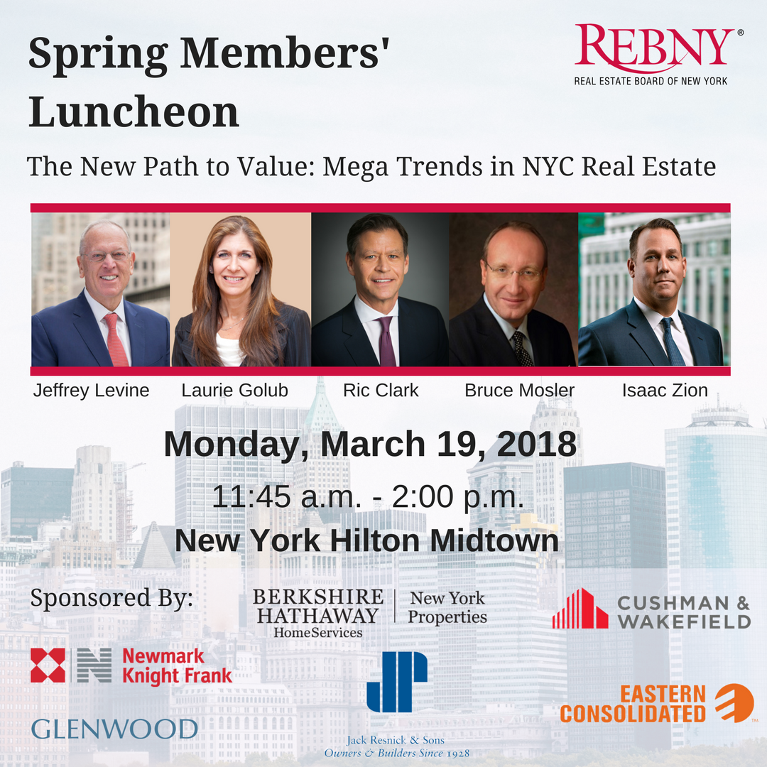 New York City commercial real estate owners, developers, brokers, and more will gather for REBNY's bi-annual Members' Luncheon to network and hear from industry leaders on the shifting forces, regulations, and costs of doing business that are impacting strategies to drive value in the market.