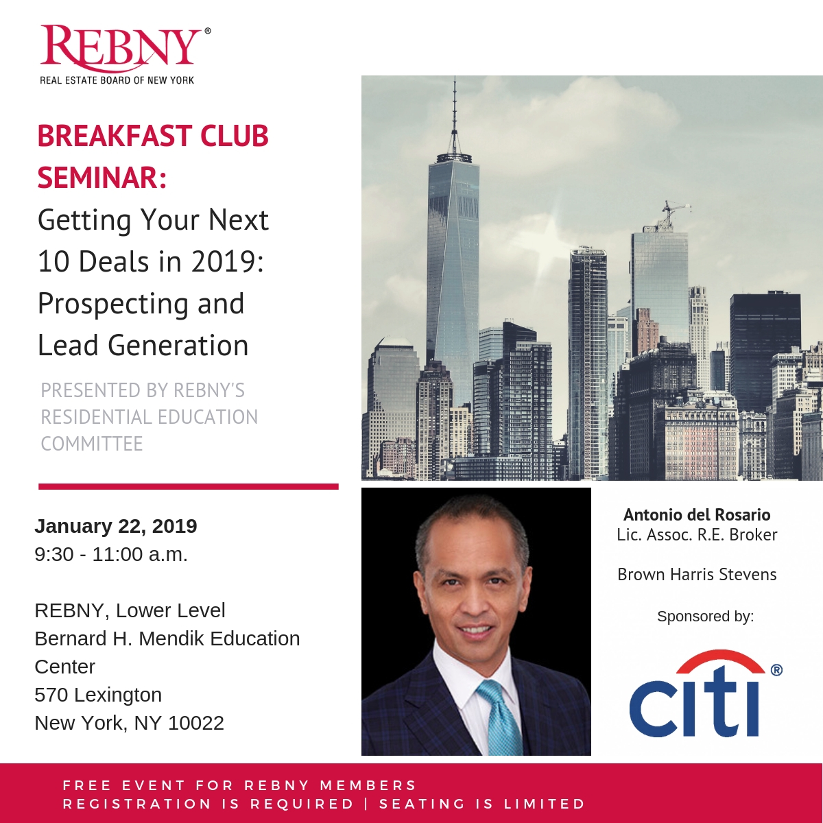 Breakfast Club Seminar -Get Your Next 10 Deals in 2019 - Prospecting and Lead Generation