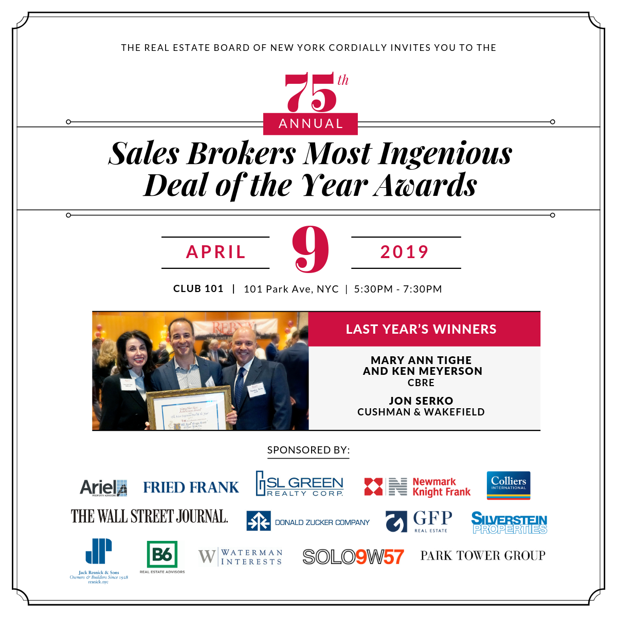 75th Annual Sales Brokers Most Ingenious Deal of the Year Awards Cocktail Party