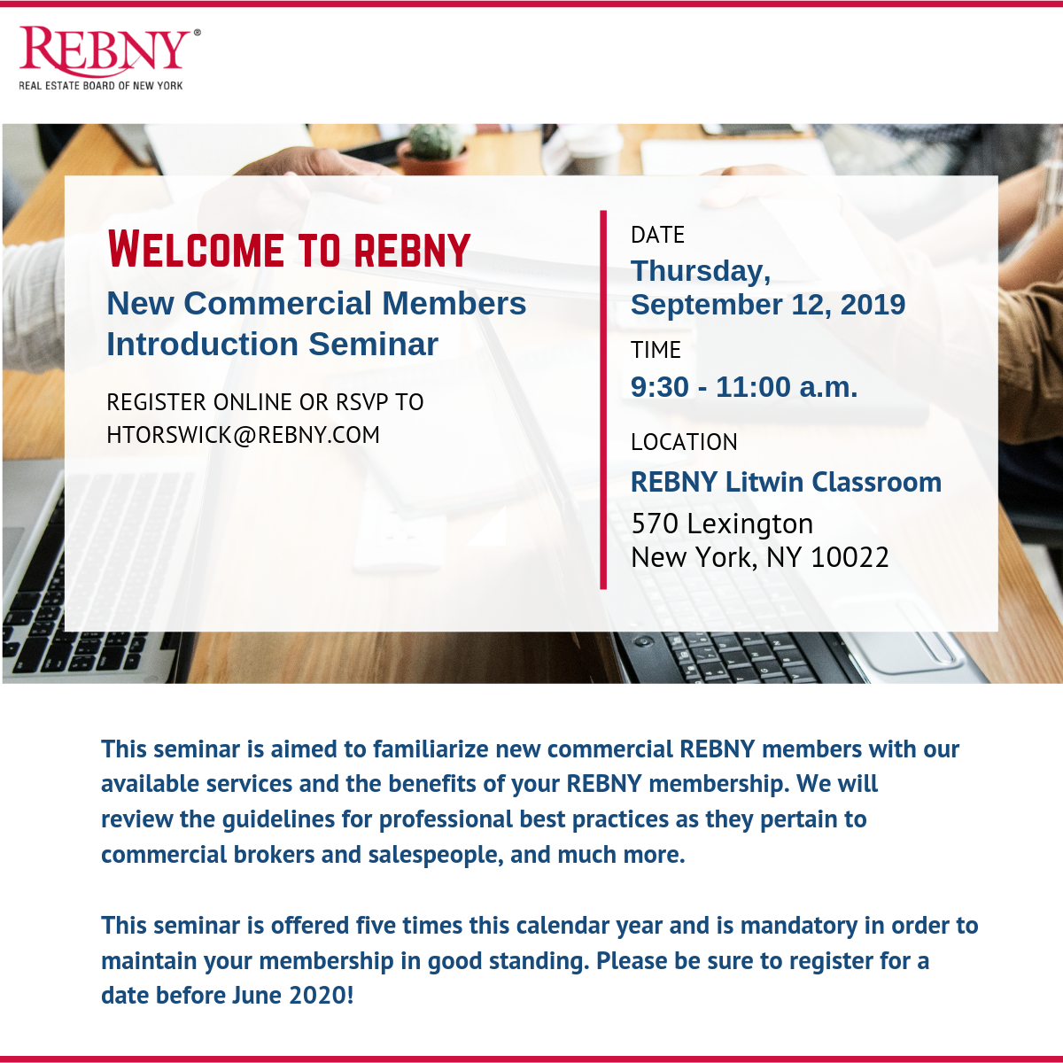 Welcome to REBNY Commercial Seminar