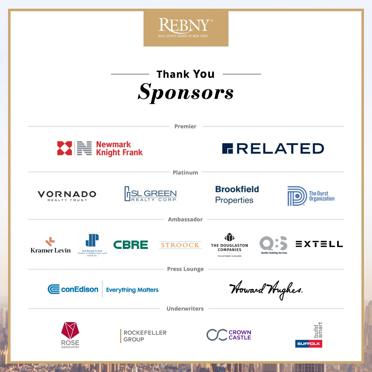 Sponsors of REBNY's 123rd Annual Banquet